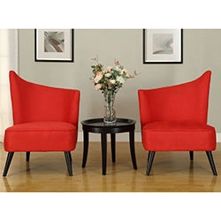 Flared Back Red Microfiber Accent Chair