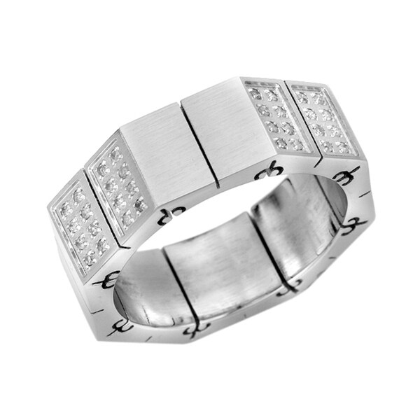 Stainless Steel Men's 3/8ct TDW Diamond Stretch Ring (G-H, I1)