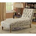 Tufted Paisley iKat Fabric Chaise Lounge