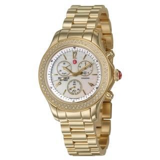 Michele Women's 'Jetway' Gold-Plated Stainless Steel White Diamond Watch