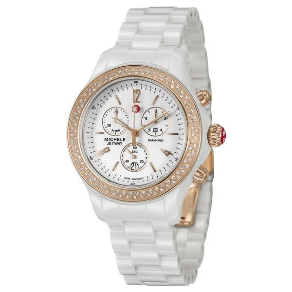 Michele Women's Rose Goldtone Steel 'Jetway' Diamond watch