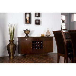 Marble Top 2-door Walnut Entertainment Buffet Server