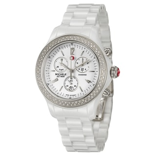Michele Women's Steel and Ceramic 'Jetway' Diamond Watch