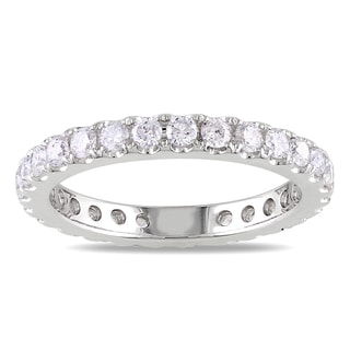 Miadora  14k White Gold 1ct TDW Diamond Eternity Ring (G-H, SI1-SI2)