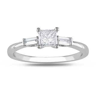 Miadora  14k White Gold 1/2ct TDW Princess Diamond Engagement Ring (H-I, I2-I3)