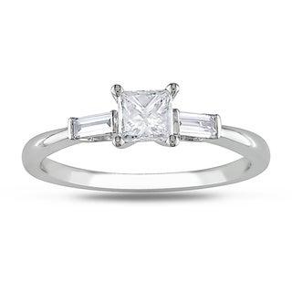 Miadora  14k White Gold 1/2ct TDW Princess Diamond Engagement Ring (H-I, I2-I3)