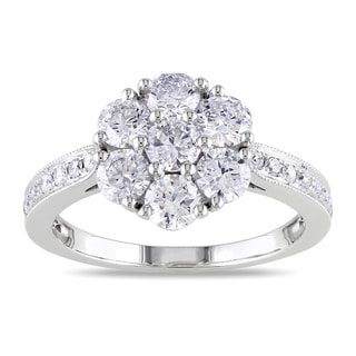 Miadora 14k White Gold 1 1/2ct TDW Diamond Cluster Ring (G-H, SI1-SI2)