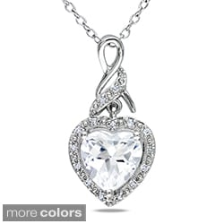 Miadora Sterling Silver Gemstone and Diamond Heart Necklace