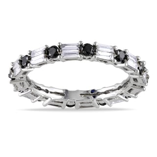 Miadora 14k White Gold 1 1/3ct TDW Black and White Diamond Ring (G-H, SI1-SI2)