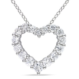 M by Miadora Sterling Silver Created White Sapphire Heart Necklace