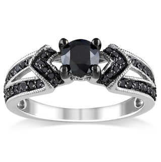 Miadora Sterling Silver 1ct TDW Black Diamond V-accent Ring