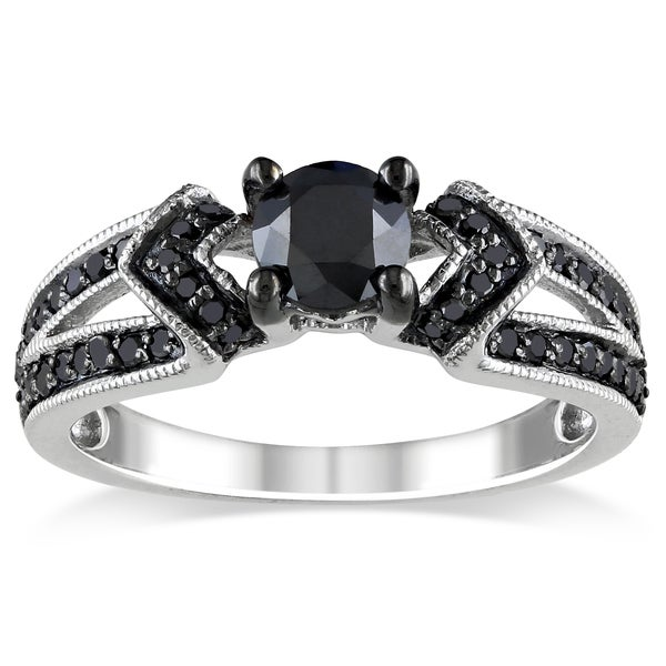 Miadora 1 CT Black Diamond TW Engagement Ring Silver Black Rhodium Plated
