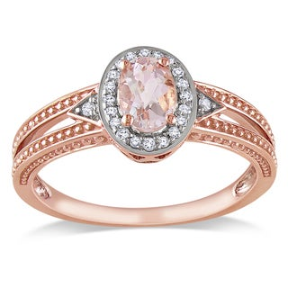 Miadora 10k Rose Gold Morganite and 1/10ct TDW Pave-set Diamond Ring (H-I, I2-I3)