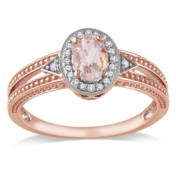 Miadora 10k Rose Gold Morganite and 1/10ct TDW Pave-set Diamond Ring (H-I, I2-I3)