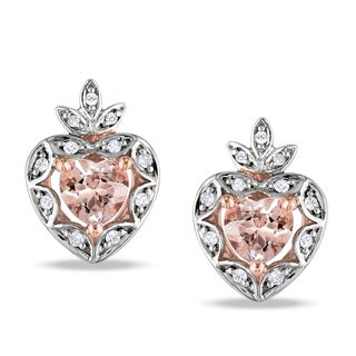 Miadora 10k Rose Gold Morganite and 1/10ct TDW Diamond Earrings (H-I, I2-I3)