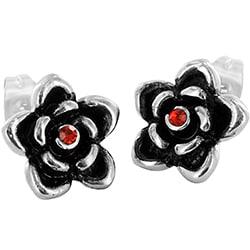 Stainless Steel Red Cubic Zirconia Rose Earrings