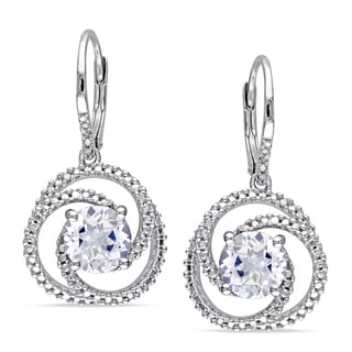 Miadora Sterling Silver Created White Sapphire and Diamond Earrings
