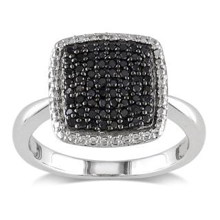 M by Miadora Sterling Silver 1/3ct TDW Black Diamond Cocktail Ring
