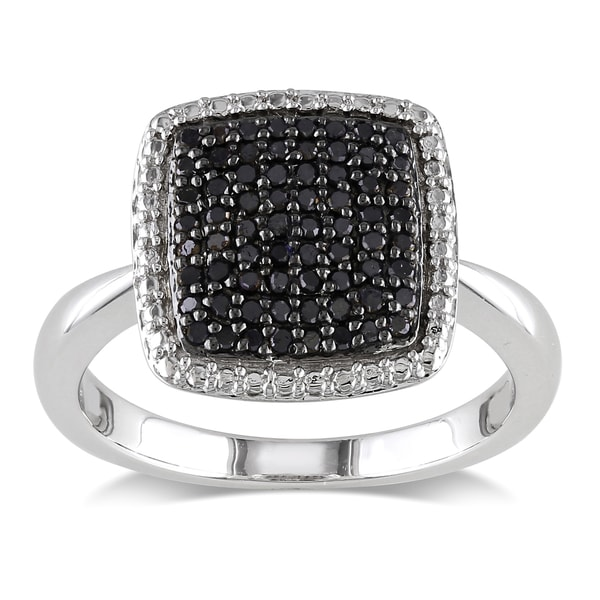 M by Miadora Sterling Silver 1/3ct TDW Black Diamond Cocktail Ring