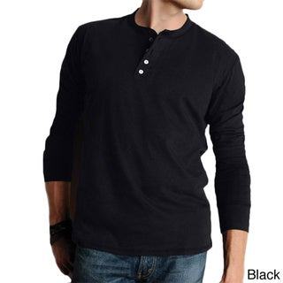 Canvas Men's Cotton Long-sleeved Henley Shirt