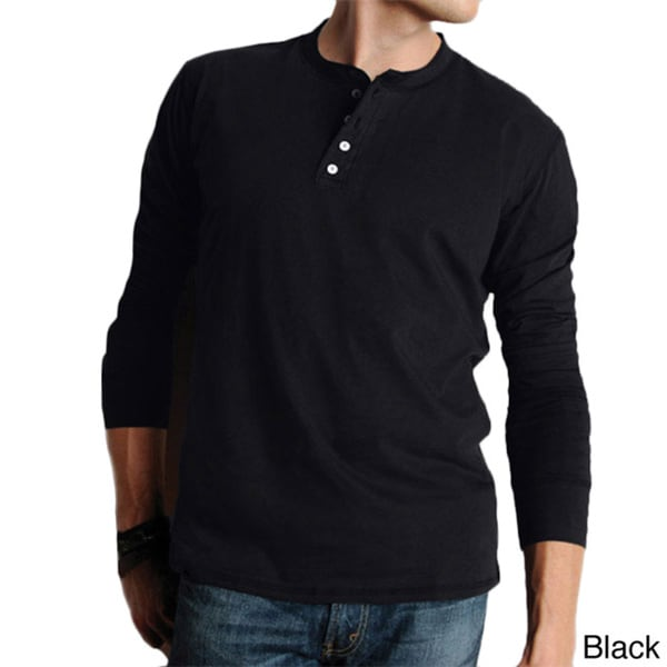Canvas Men's Cotton Long-sleeved Henley Shirt Medium Size in Black (As Is Item)