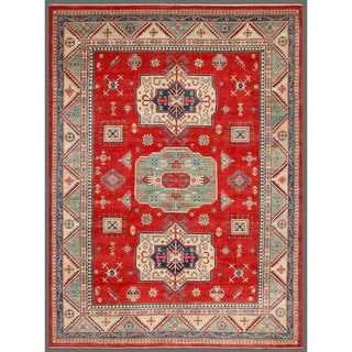 Afghan Hand-knotted Kazak Red/ Ivory Wool Rug (8'8 x 11'7)