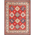 Afghan Hand-knotted Kazak Red/ Ivory Wool Rug (7'11 x 10'1)