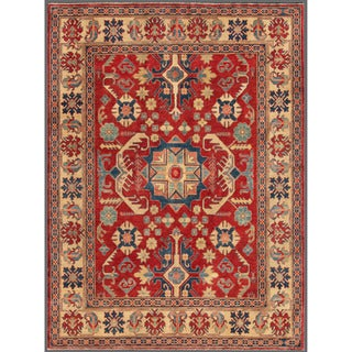 Herat Oriental Afghan Hand-knotted Kazak Red/ Ivory Wool Rug (6'2 x 8'5)