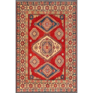 Afghan Hand-knotted Kazak 6'4 x 9'7 Red Wool Area Rug (Afghanistan)