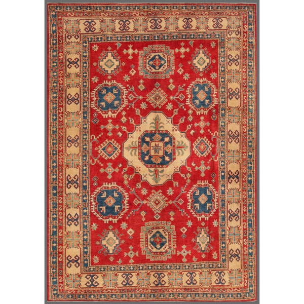 Afghan Hand-knotted Kazak Red/ Ivory Wool Rug (7'4 x 10'3)