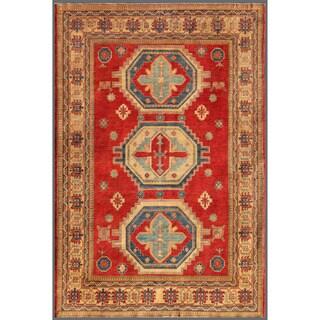 Afghan Hand-knotted Kazak Red/ Beige Wool Geometric Rug (7'4 x 10'8)