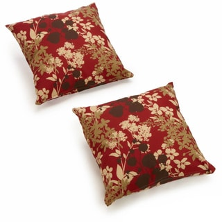 Blazing Needles Floral/ Stripe 20-inch Throw Pillows (Set of 2)