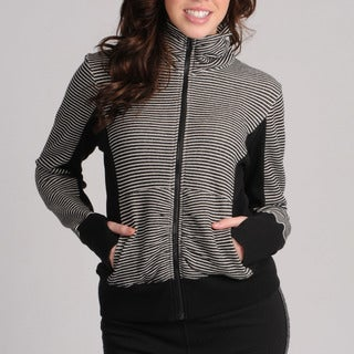 Central Park Women's Striped Funnel Neck Zip-up Sweatshirt