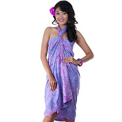 Premium Heavyweight Lavender Floral Sarong (Indonesia)