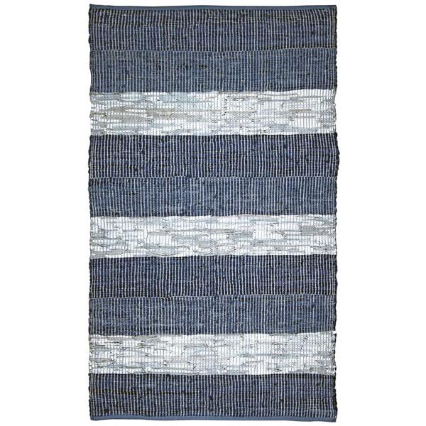 Hand Woven Matador Blue Stripe Leather Rug (5' x 8')