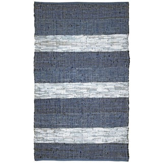 Hand Woven Matador Blue Stripe Leather Rug (18' x 38')