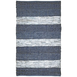 Hand Woven Matador Blue Stripe Leather Rug (18' x 38')
