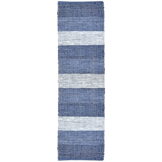 Hand Woven Matador Blue Stripe Leather Rug (2'6 x 12')