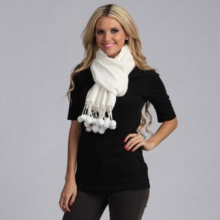 Cashmere Showroom Women's White Bamboo from Rayon Pom-pom Scarf