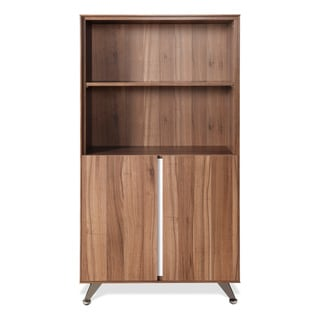J & K Walnut Modern Bookcase with Doors