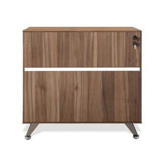 J & K Walnut Modern Lateral File Cabinet