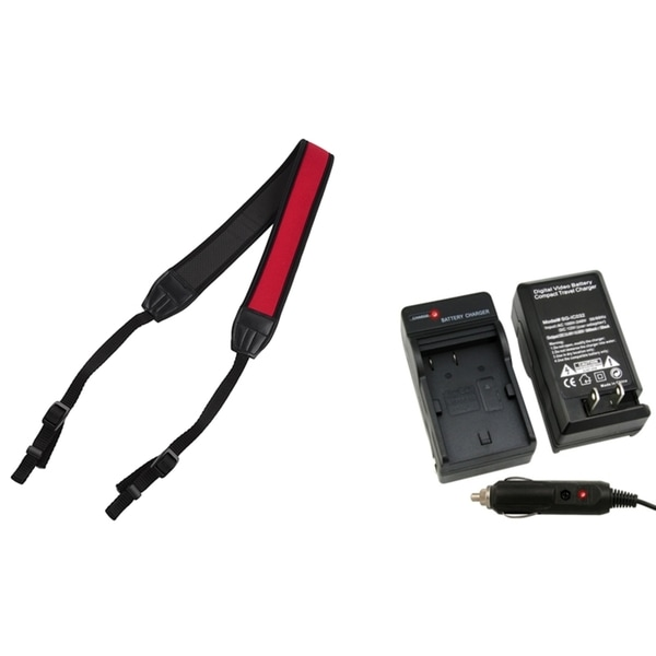 INSTEN Charger/ Black/ Red Neck Strap for Canon EOS 50D