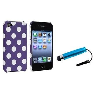 BasAcc Purple/ White Dot Case/ Blue Mini Stylus for Apple iPhone 4/ 4S