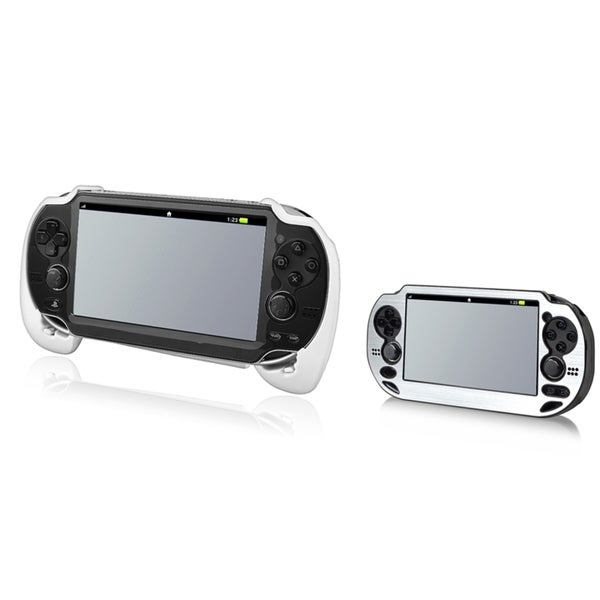 INSTEN Silver Aluminum Case Cover/ White Hand Grip for Sony Playstation Vita