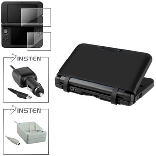 BasAcc Black Case/ Screen Protector/ Chargers for Nintendo 3DS XL
