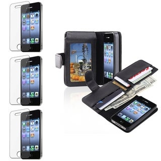 BasAcc Leather Case/ Screen Protector for Apple� iPhone 4/ 4S
