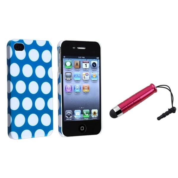 BasAcc Light Blue/ White Dot Case/ Mini Stylus for Apple iPhone 4/ 4S
