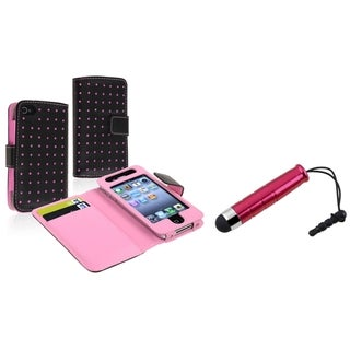 BasAcc Black/ Pink Wallet Case/ Red Mini Stylus for Apple iPhone 4/ 4S