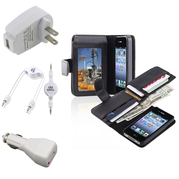 INSTEN Phone Case Cover/ Travel/ Car Charger/ Cable for Apple iPhone 4/ 4S