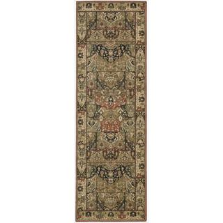 Living Treasures Khaki Wool Runner Rug (2'6 x 12')